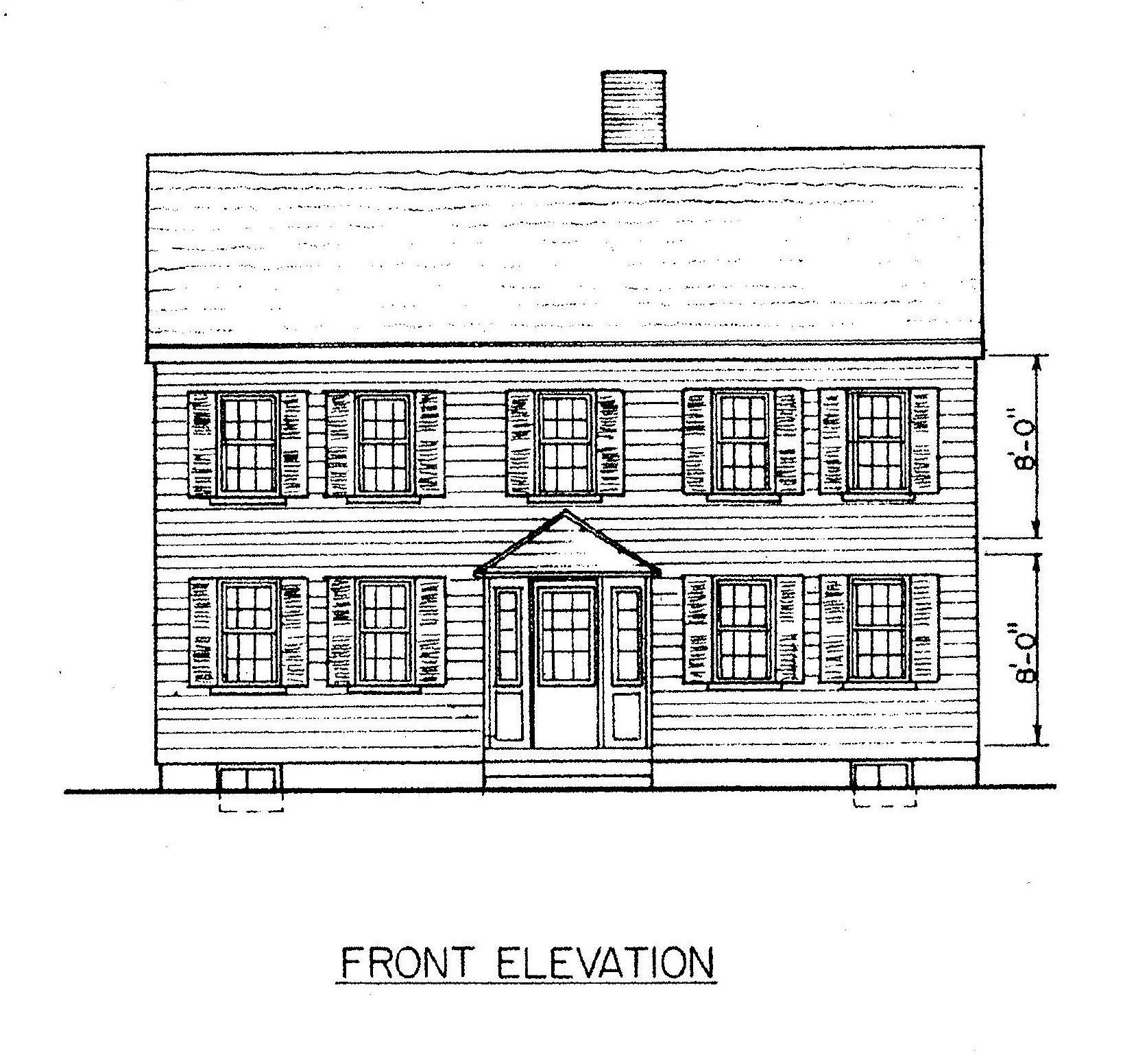 Superbe Saltbox Home Plan Front View