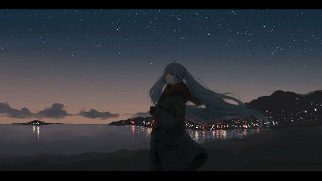 冬の夜の海辺を歩く初音ミクの綺麗なイラスト壁紙画像 ミク様 初音