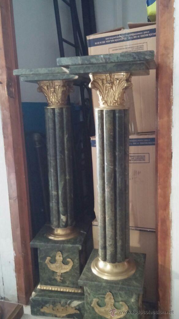 Pareja de columnas de m rmol verde antiguedades a la - Columna de marmol ...