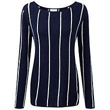 Pure Collection Edgecot Gassato Cashmere Stripe Jumper, Navy/Soft White