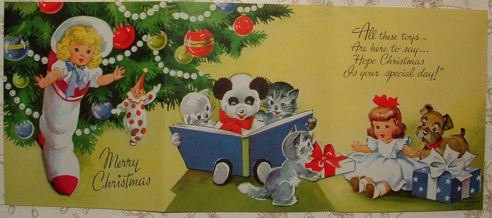 UNUSED - Tri-fold - Dolls, Kittens, Tree - 50's Vintage Christmas Greeting Card