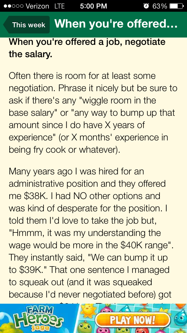 If OFFERED a job...Negotiate Salary Negotiating salary