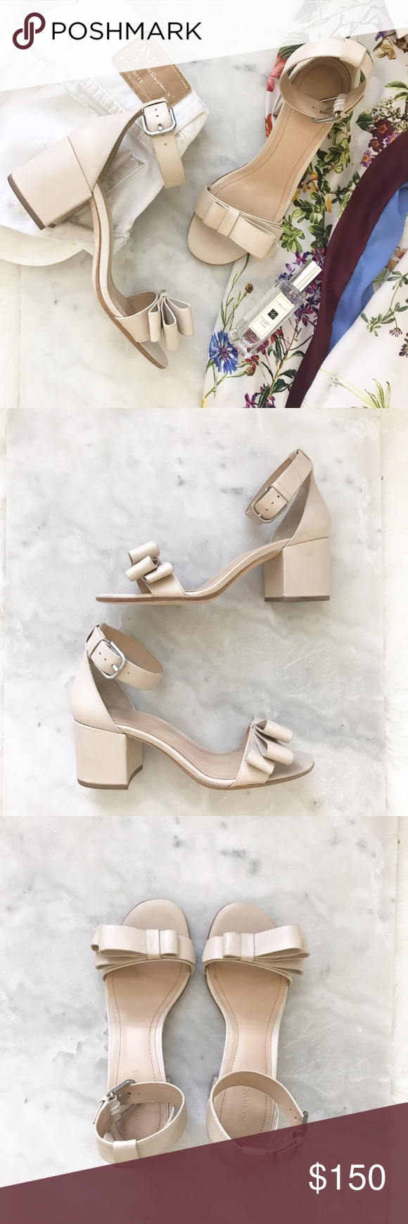 20059ff3f74 Pour La Victoire Nude block heel sandals   asymmetrical bow at toe strap    wrapped chunky