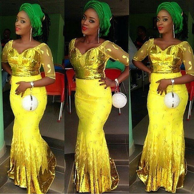 Aso Ebi Styles 2016 : Green And Yellow Colour Combinations