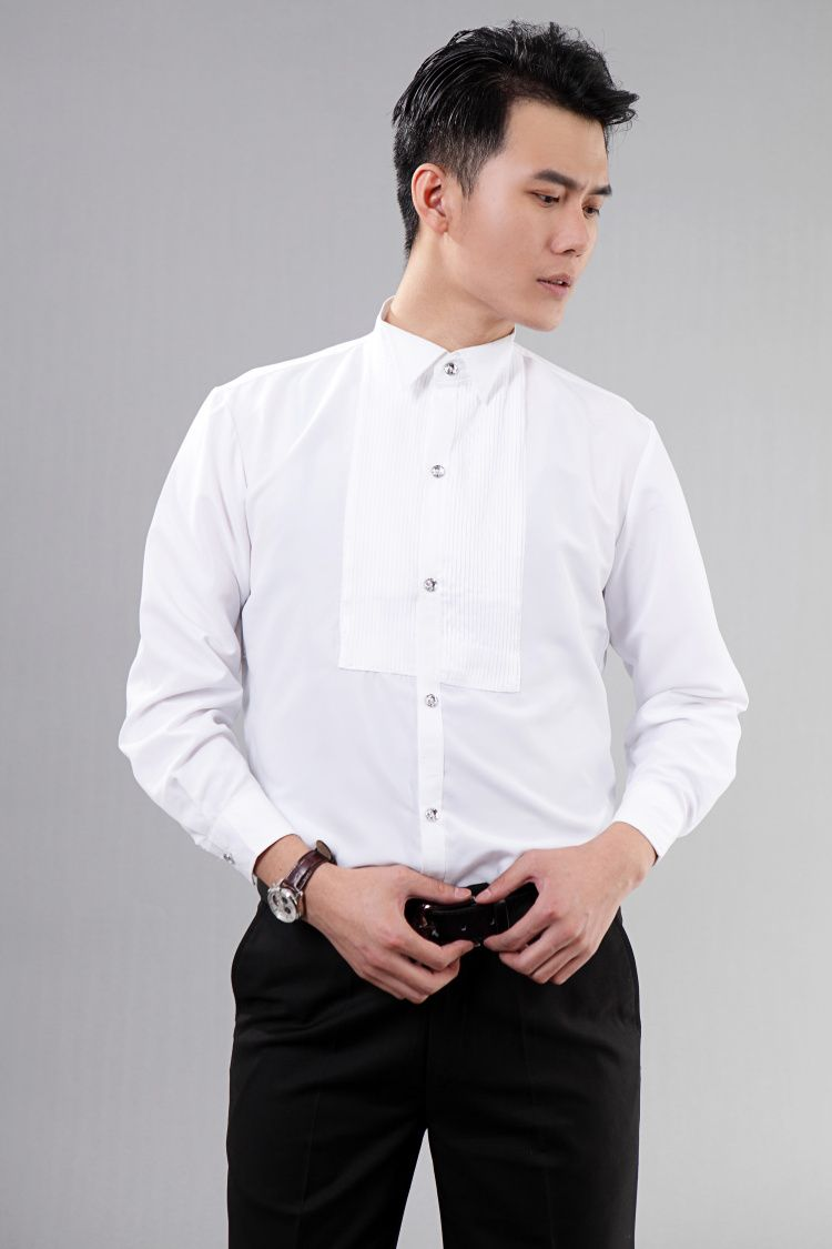 Click To Hot New Style White Long Sleeved Men Shirt