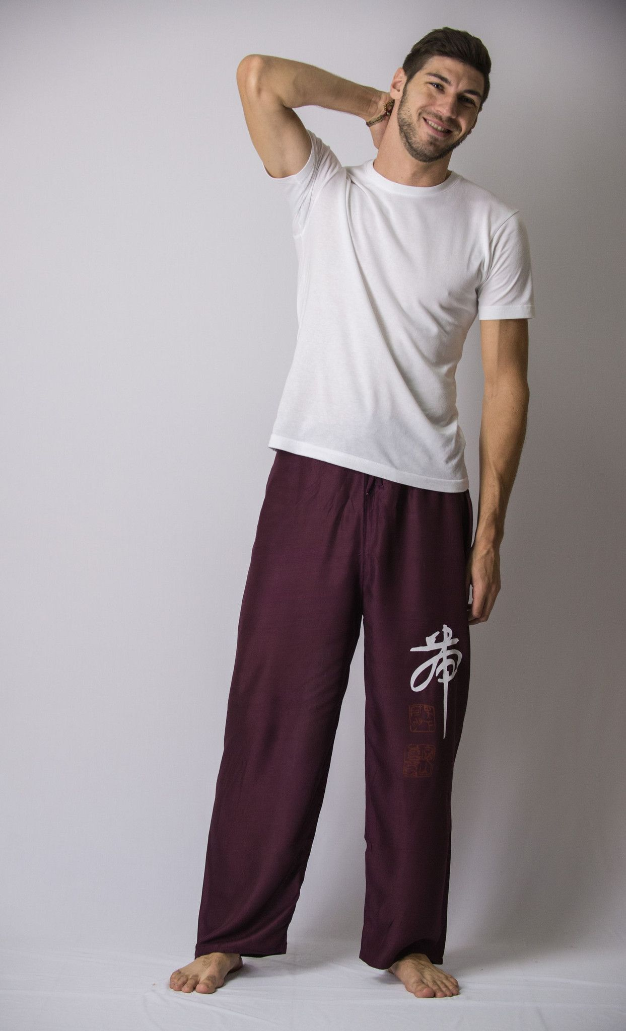 Chinese Writing Men's Thai Yoga Pants in Purple – Harem Pants