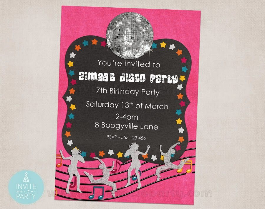 Pink Disco Party Invitation Invite Me To Party: Pink Disco Party ...