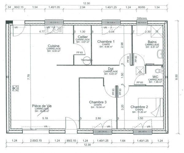 plan maison plain pied 80m2 2 chambres | Plan de maison fonctionnelle, Plan maison 90m2, Plan ...
