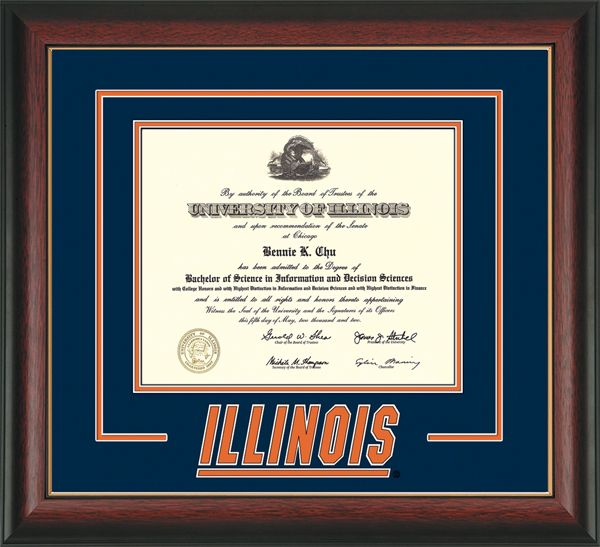 university of illinois diploma frames with 3d cut out navy on orange mat - Diploma Frames Target