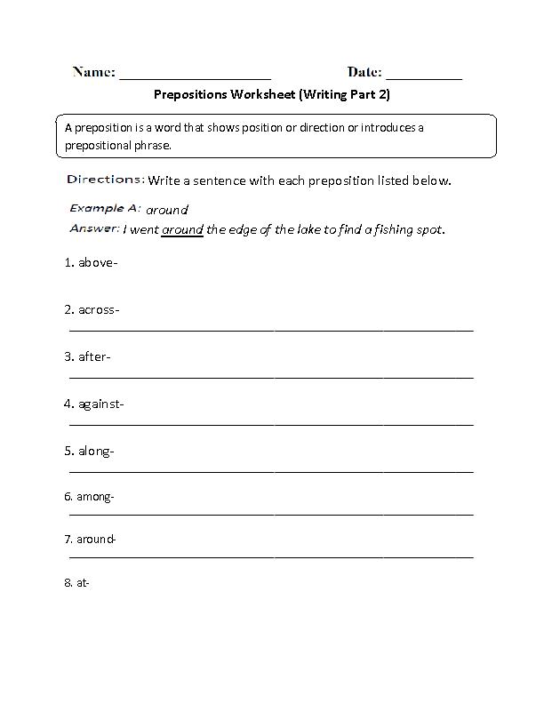 Writing Prepositions Worksheet Part 2 Prepositions Pinterest