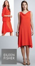 EILEEN FISHER $198 New Firefly orange-red cowl neck viscose jersey knit dress PS
