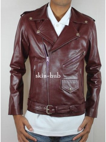 M111 MENS CLASSIC BIKER LAMB-SKIN BURGUNDY LEATHER JACKET