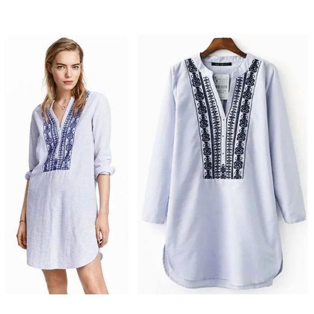 ETHNIC BORDER EMBROIDERY SHIRT DRESS