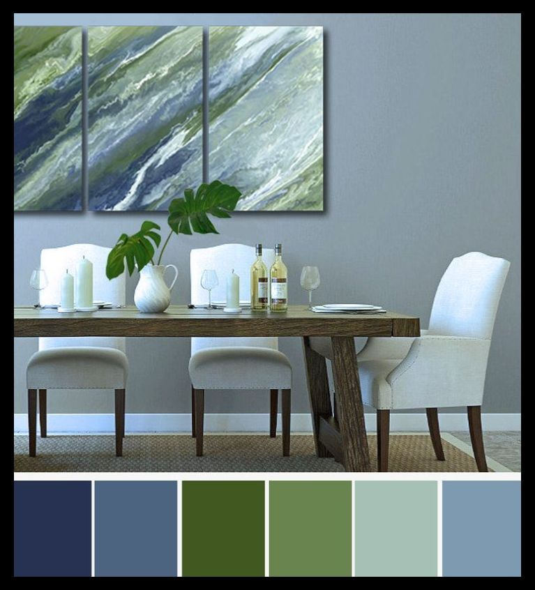 Navy Olive Abstract Wall Art Large 3 Piece Canvas Print Set Blue Green Sage Dining Room Green Living Room Decor Living Room Green Blue And Green Living Room #navy #blue #and #green #living #room