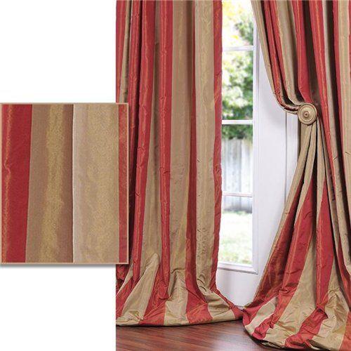 red golden tan striped faux silk taffeta 120inch curtain panel