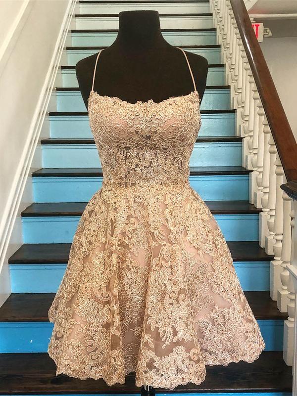 159695edde34 Spaghetti Strap Vintage Gold Lace Applique Homecoming Dresses ...