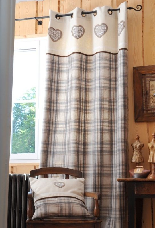 rideau tartan naturel accroche rideau pinterest accroche rideau accroche et rideaux stores. Black Bedroom Furniture Sets. Home Design Ideas