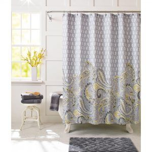 Yellow And Gray Medallion Paisley Print Shower Curtain