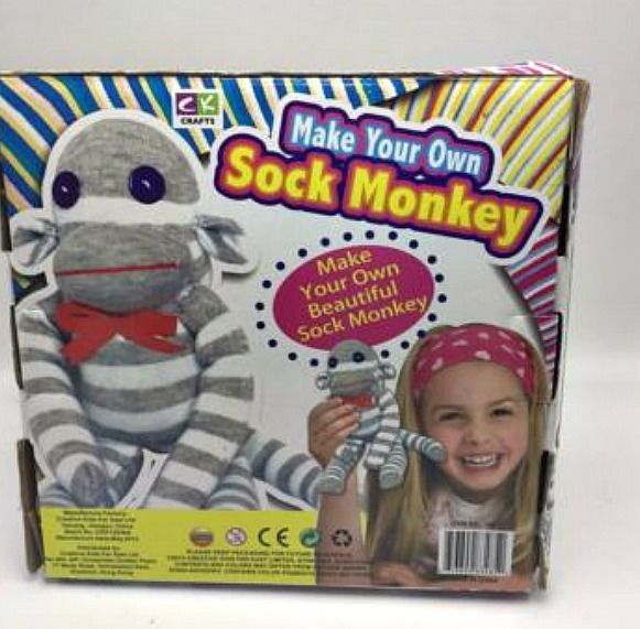 CK Crafts Make your own Sock Monkey Complete Kit: Socks, Stuffing, all Equipment #CKCrafts