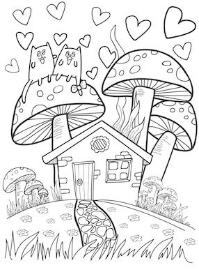 doodles cats on mushroom (with images) | cat coloring book