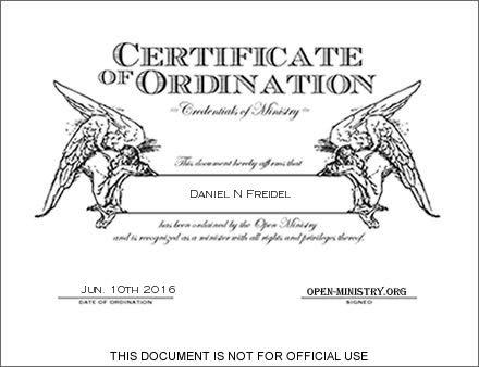 Ordination Certificate for Daniel N Freidel My Open Ministry Stuff - best of ordination certificate free