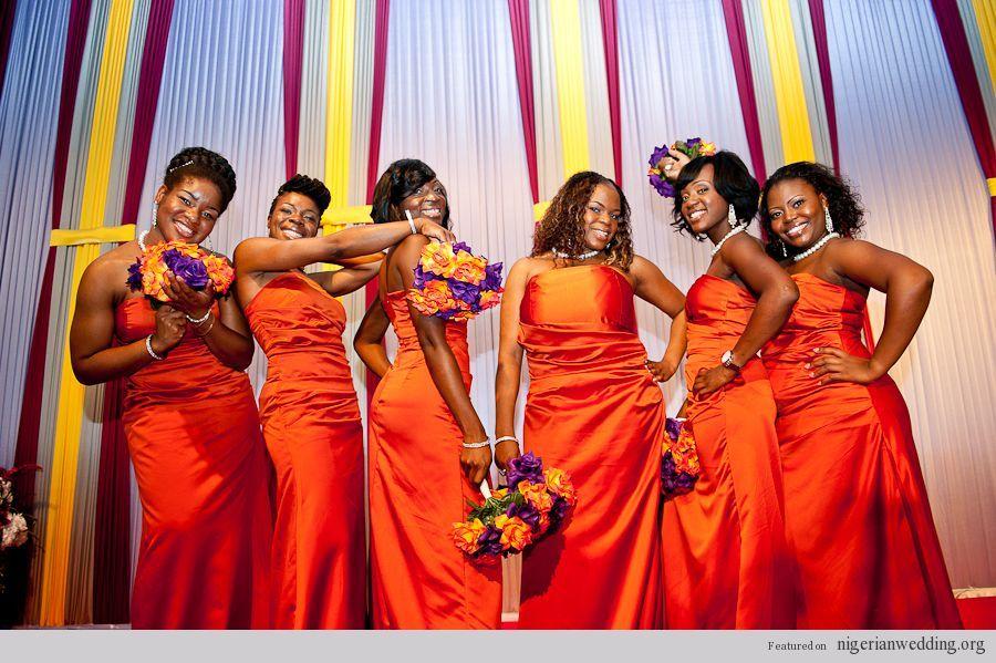 Burnt Orange Wedding Nigerian Wedding Burnt Orange Bridesmaids