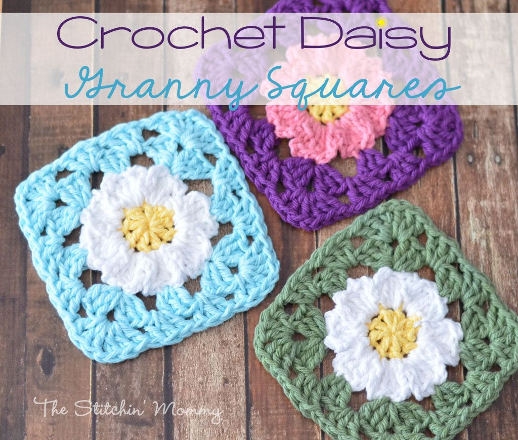Crochet Daisy Granny Squares | Häkelarbeiten, Häkeln und Stricken