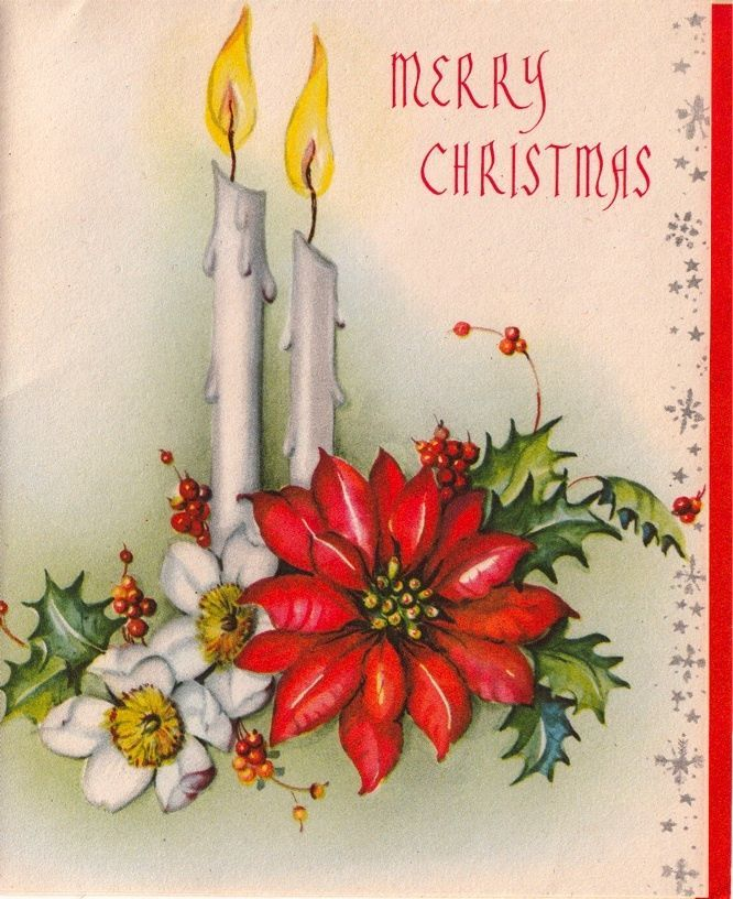 Vintage Greeting Card Christmas Candles Poinsettia L293 Vintage