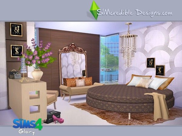 Created for the sims 4 this is a set with 12 creations for Bedroom designs sims 4