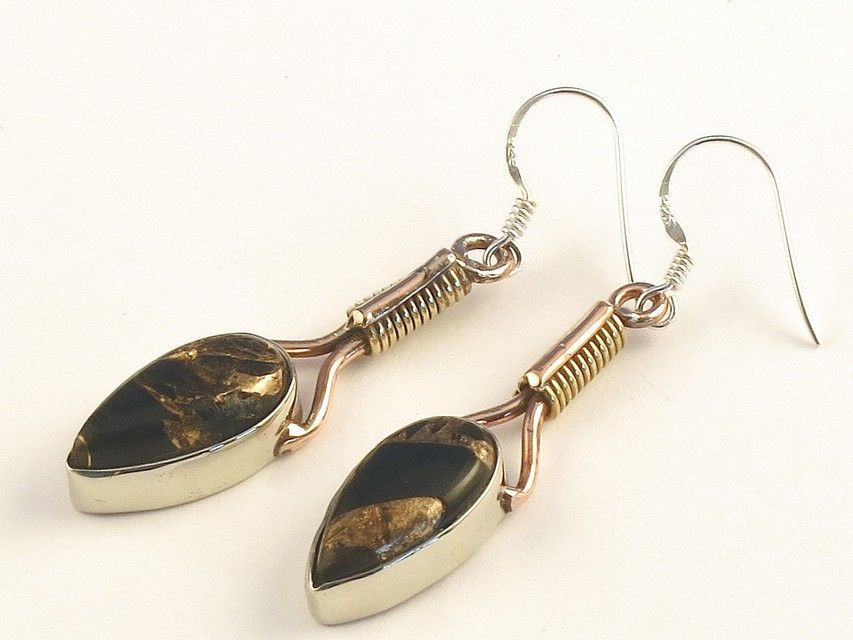 """Design 115560 Fair Trade Pear Black Copper Turquoise .925 Sterling Silver Jewelry Earrings 2"""""""