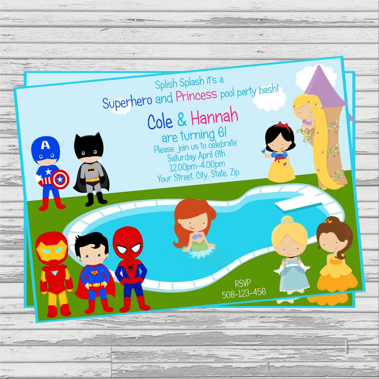Superhero and Princess Invitation Superheroes and Princesses – Superhero Party Invitation