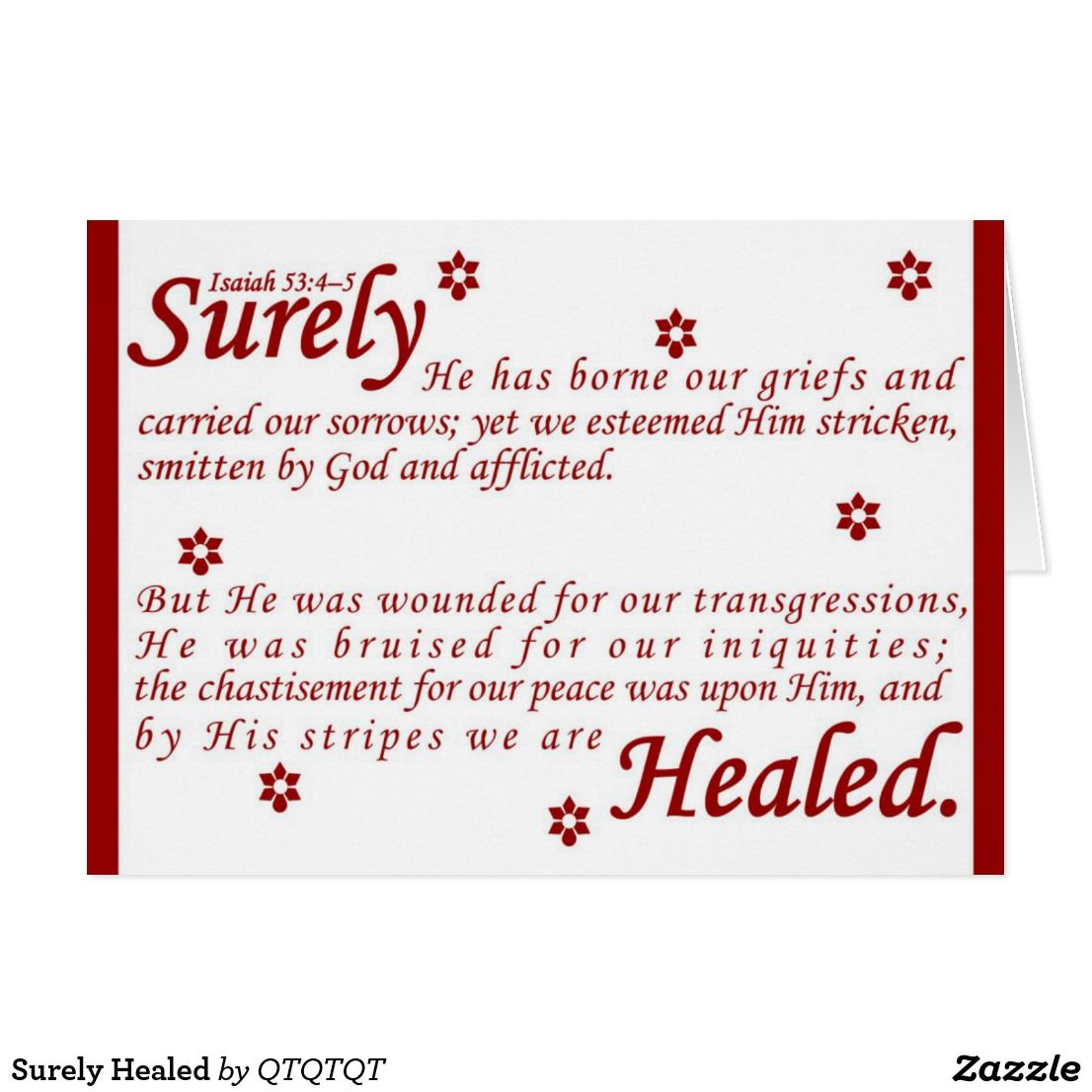Surely healed card healing bible verses surely healed christian greeting cards isaiah healed bible verse negle Choice Image
