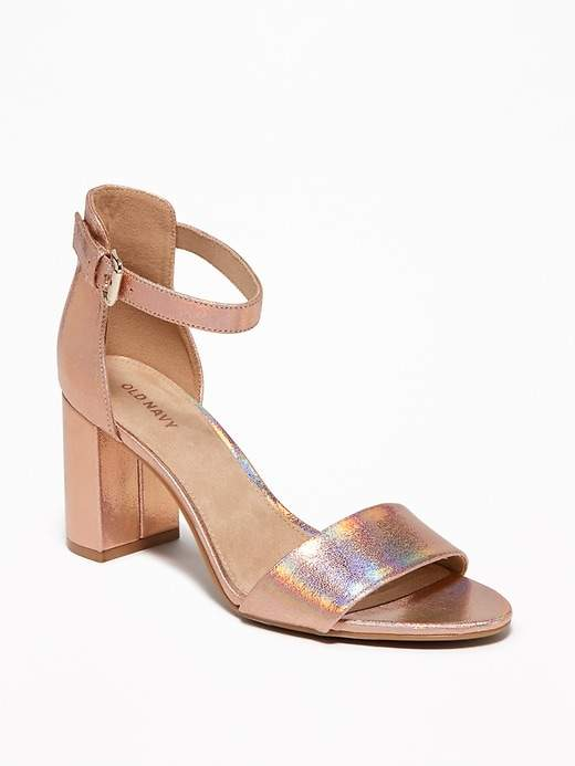 a4426001db8 Old Navy Metallic Faux-Leather Block-Heel Sandals for Women ...