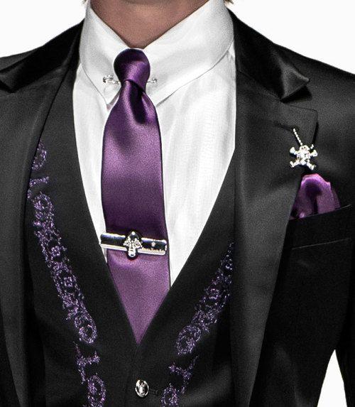 Black And Purple Silk Satin Men S Suit Wedding Men Wedding