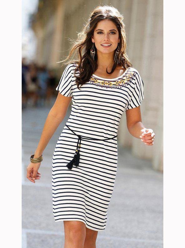 06a6e3707 Vestido mujer marinero rayas con cinturón