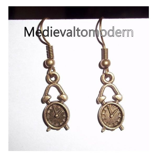 Small Steampunk Antiqued Looking Brass Gold Earrings 1 inch ($7.50) via Polyvore