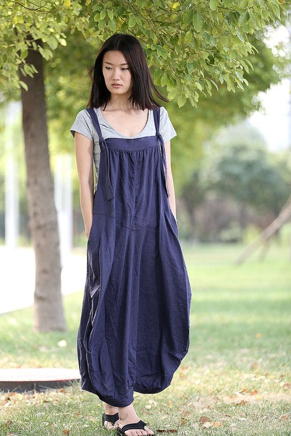 9707939fd7 Romantic Navy Blue Vest Bud Long Maxi Dress C278 by YL1dress. Linen ...