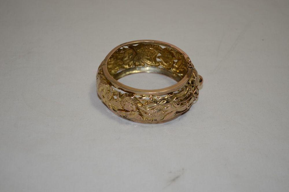 "Wide Chunky Victorian Style Gold Tone 7"" Inch Hinged Bangle Bracelet 1159-1-3 #Bangle"