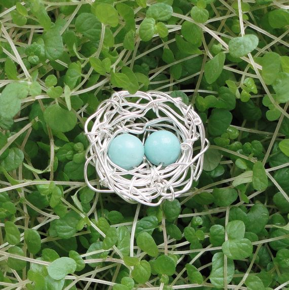 Wire Bird's Nest Pendant with 2 Amazonite by PenniesCollection