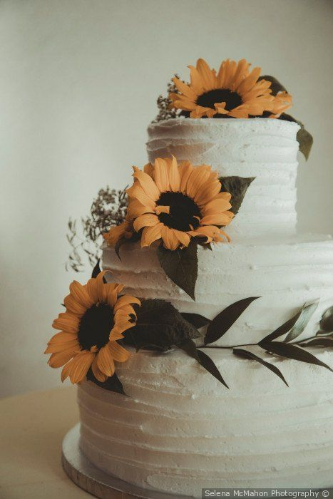 - Gorgeous rustic wedding cake - three tier with sunflower and greenery details {S...