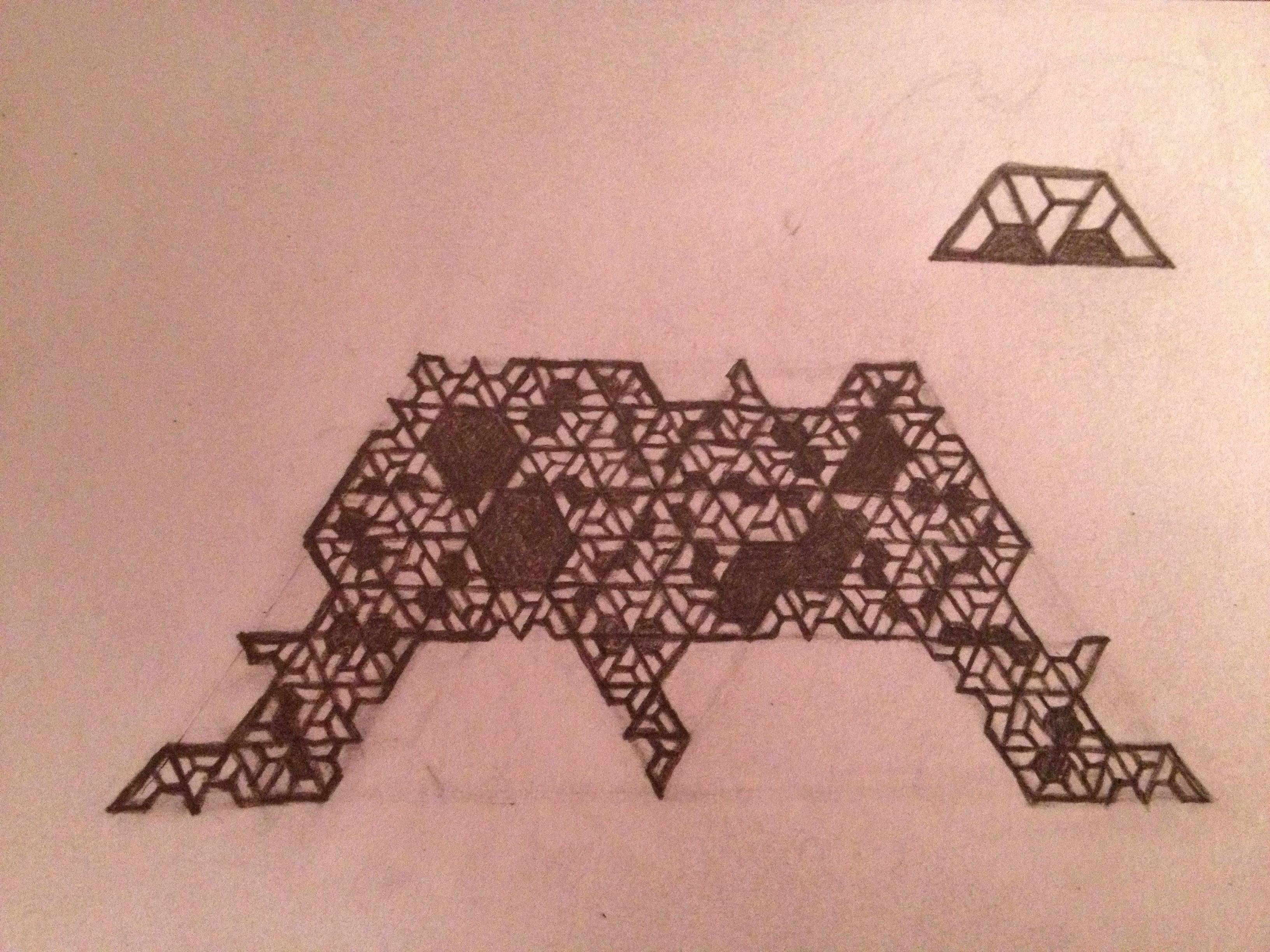A 'Fract'leth.'  (Get it?  Fractal Bat'leth.  :)  Created from a half-hexagon trapezoid rep-tile, cutting out the 2 smaller central trapezoids (see above), and repeating the process again and again.