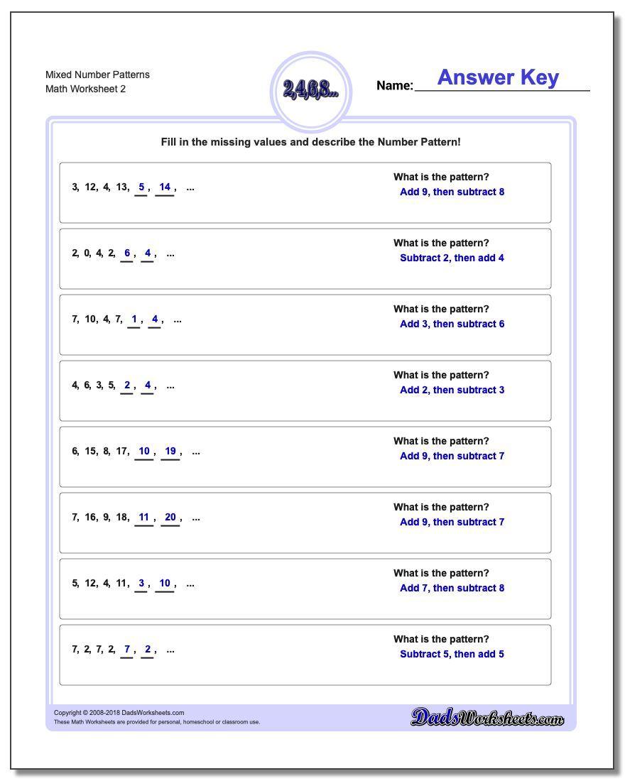 Mixed Number Patterns Worksheet Number Patterns Worksheet Number Patterns Worksheets Algebra Worksheets Pattern Worksheet