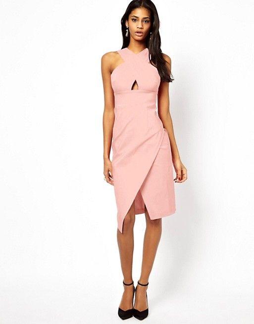 ef5efe2f0d31 Baby Pink X Front Pencil Midi Dress - Asos