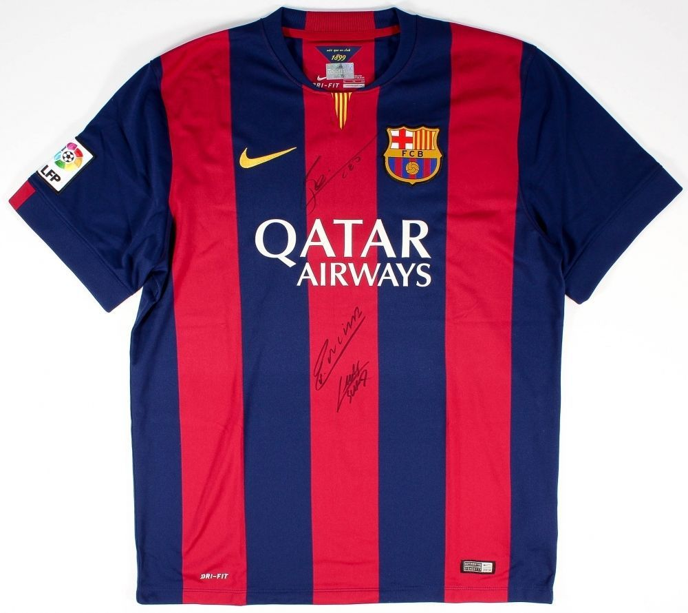 cb809cd93 LIONEL MESSI, INIESTA , & SUAREZ Triple Auto FC Barcelona Home Jersey ICONS  - Game Day Legends