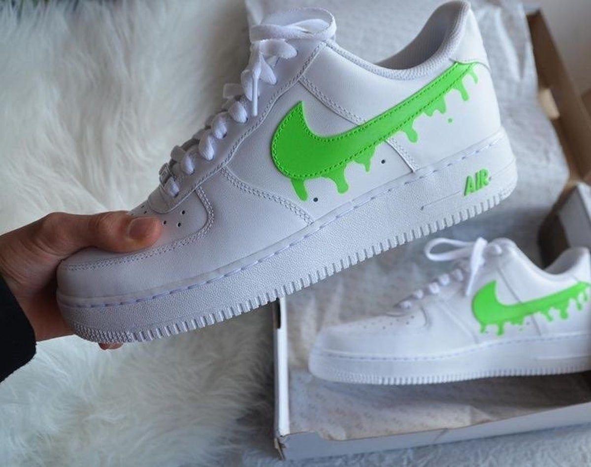 Custom Air Force 1 Drip in 2020 White nike shoes, Nike
