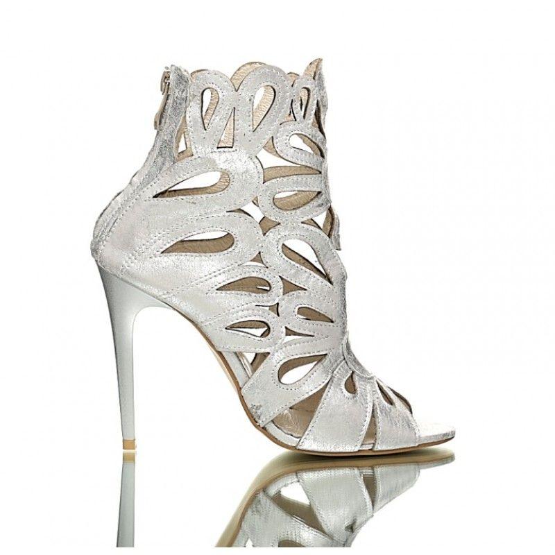 Srebrne Sandaly Flames Womens High Heels Shoes High Heels
