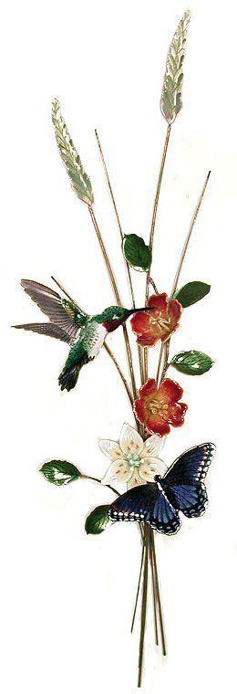 hummingbird and butterfly vertical sculpture metal wall on metal wall art id=85961