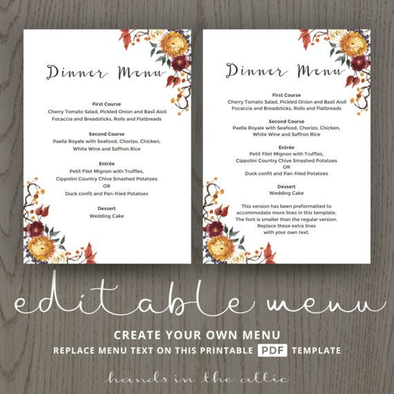 fall wedding menu template printable dinner lunch brunch menu