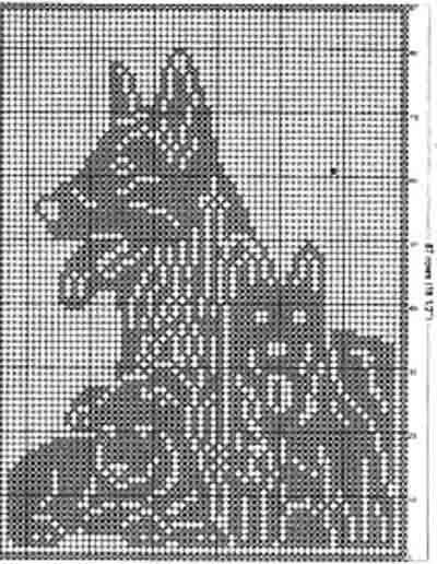 Филейное вязание, подушка Собака со щенками | Филе крючком ...