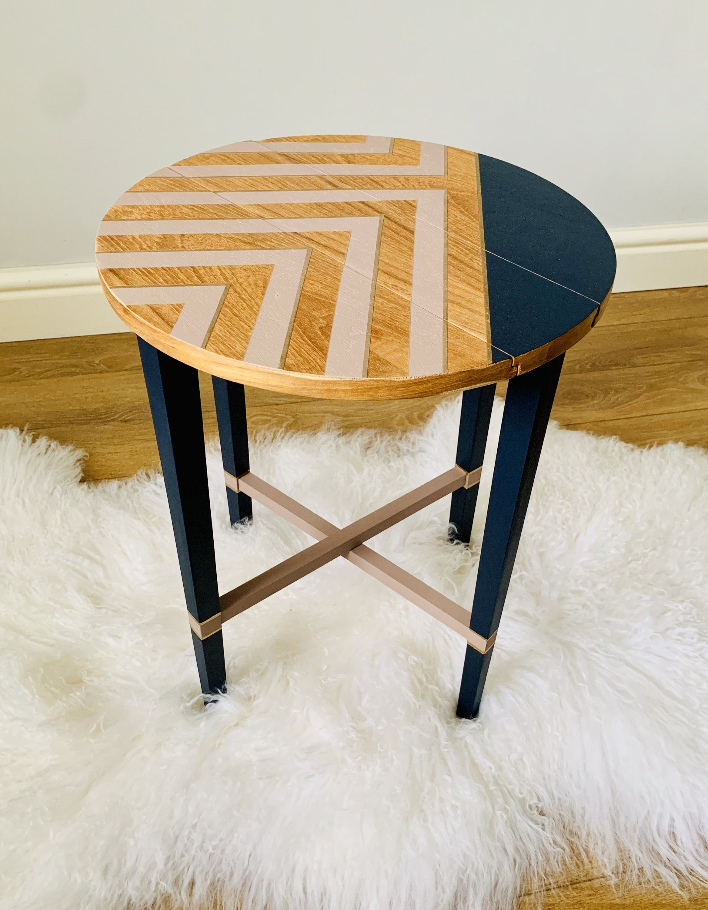 Mid Century Side Table Coffee End Table Bedside Tables Lamp Table Painted Retro Geometric Pattern Folding Side Table Pink Navy Gold In 2020 Painted Coffee Tables Painted Table Mid Century Side Table